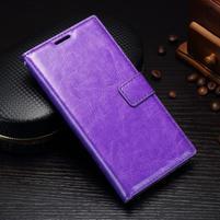 Grain PU kožené knižkové puzdro na Sony Xperia L1 - fialové