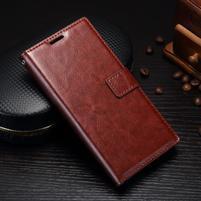 Grain PU kožené knižkové puzdro na Sony Xperia L1 - hnedé