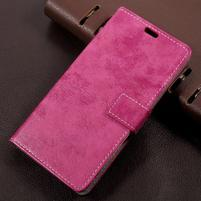 Vintage PU kožené puzdro pre mobil Sony Xperia L1 - rose