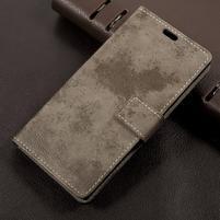 Vintage PU kožené puzdro pre mobil Sony Xperia L1 - khaki