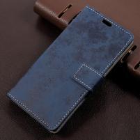 Vintage PU kožené puzdro pre mobil Sony Xperia L1 - modré