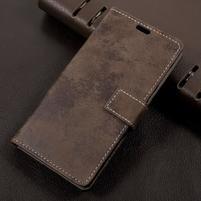 Vintage PU kožené puzdro pre mobil Sony Xperia L1 - hnedé