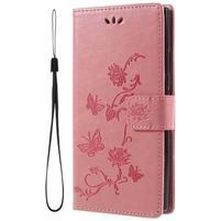 Flower PU kožené puzdro s motýlikmi na Sony Xperia L2 - ružové