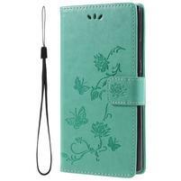 Flower PU kožené puzdro s motýlikmi na Sony Xperia L2 - zelené
