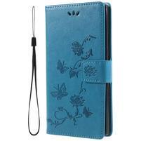 Flower PU kožené puzdro s motýlikmi na Sony Xperia L2 - modré