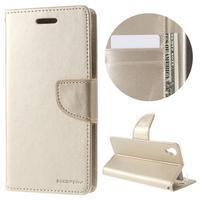 BravoDiary PU kožené puzdro na Sony Xperia X - zlaté