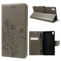 Butterfly PU kožené puzdro na Sony Xperia XA Ultra - sivé