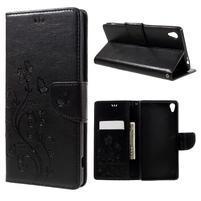 Butterfly PU kožené puzdro na Sony Xperia XA Ultra - čierne