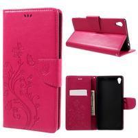 Butterfly PU kožené puzdro na Sony Xperia XA Ultra - rose