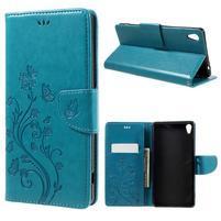 Butterfly PU kožené puzdro na Sony Xperia XA Ultra - modré