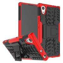 Outdoor odolný obal so stojančekom na Sony Xperia XA1 - červený