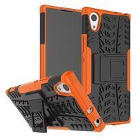 Outdoor odolný obal so stojančekom na Sony Xperia XA1 - oranžový