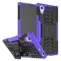 Outdoor odolný obal so stojančekom na Sony Xperia XA1 - fialový