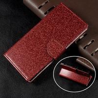 Trblietavé knížkové puzdro pre Sony Xperia XA1 - červené