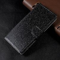 Trblietavé knížkové puzdro pre Sony Xperia XA1 - čierne