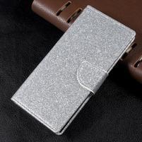 Trblietavé knížkové puzdro pre Sony Xperia XA1 - strieborné