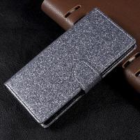 Trblietavé knížkové puzdro pre Sony Xperia XA1 - šedé