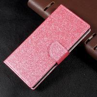 Trblietavé knížkové puzdro pre Sony Xperia XA1 - ružové