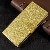 Trblietavé knížkové puzdro pre Sony Xperia XA1 - zlaté