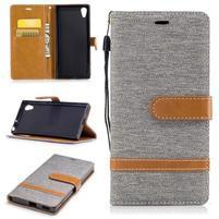 Jeany PU kožené/textilné puzdro na telefón Sony Xperia XA1 - sivé