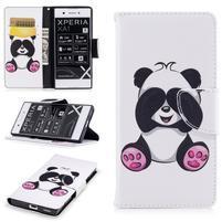 Printy PU kožené knížkové puzdro na Sony Xperia XA1 - medvedík panda