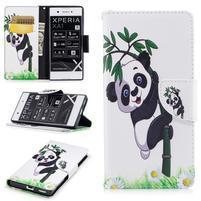 Printy PU kožené knížkové puzdro na Sony Xperia XA1 - panda na bambuse