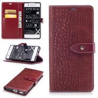 CrocoStyle PU kožené puzdro na Sony Xperia XA1 - červené