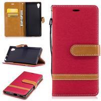 Jeany PU kožené/textilné puzdro na telefón Sony Xperia XA1 - červené
