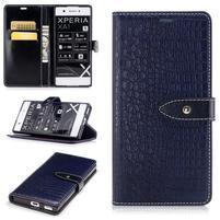 CrocoStyle PU kožené puzdro na Sony Xperia XA1 - modré