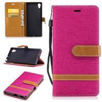 Jeany PU kožené/textilné puzdro na telefón Sony Xperia XA1 - rose