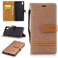 Jeany PU kožené/textilné puzdro na telefón Sony Xperia XA1 - béžové