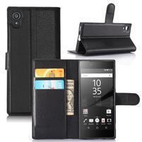 Graines peňaženkové puzdro pre mobil Sony Xperia XA1 - čierne