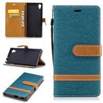 Jeany PU kožené/textilné puzdro na telefón Sony Xperia XA1 - zelenomodré