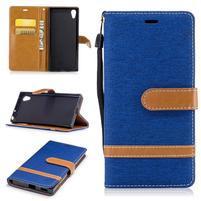 Jeany PU kožené/textilné puzdro na telefón Sony Xperia XA1 - modré