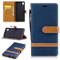 Jeany PU kožené/textilné puzdro na telefón Sony Xperia XA1 - tmavomodré