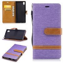 Jeany PU kožené/textilné puzdro na telefón Sony Xperia XA1 - fialové