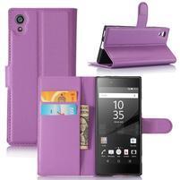 Graines peňaženkové puzdro pre mobil Sony Xperia XA1 - fialové