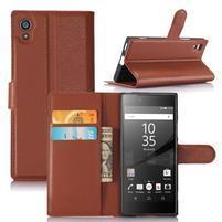 Graines peňaženkové puzdro pre mobil Sony Xperia XA1 - hnedé