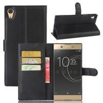 Graines PU kožené puzdro pre Sony Xperia XA1 Ultra - čierne