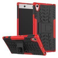 Outdoor odolný obal so stojančekom na Sony Xperia XA1 Ultra - červený