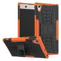 Outdoor odolný obal so stojančekom na Sony Xperia XA1 Ultra - oranžový