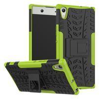 Outdoor odolný obal so stojančekom na Sony Xperia XA1 Ultra - zelený