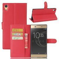 Graines PU kožené puzdro pre Sony Xperia XA1 Ultra - červené
