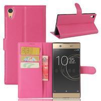 Graines PU kožené puzdro pre Sony Xperia XA1 Ultra - rose
