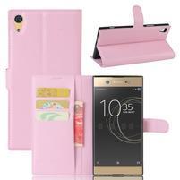 Graines PU kožené puzdro pre Sony Xperia XA1 Ultra - ružové