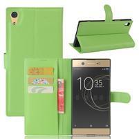 Graines PU kožené puzdro pre Sony Xperia XA1 Ultra - zelené