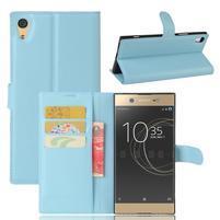 Graines PU kožené puzdro pre Sony Xperia XA1 Ultra - svetlomodré