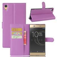 Graines PU kožené puzdro pre Sony Xperia XA1 Ultra - fialové