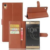 Graines PU kožené puzdro pre Sony Xperia XA1 Ultra - hnedé