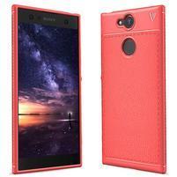 IVS textúrovaný gélový obal so zosilneným obvodom na Sony Xperia XA2 - červený
